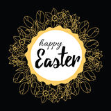 Hand drawn banner with text Happy Easter made on doodle design into round frame with spring bulb flowers decor. Stock Photos