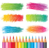 Hand drawn banners. Colorful hand drawn banners and pencils stock illustration