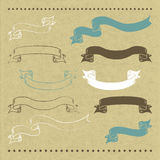 Hand drawn banners. 10 hand drawn banners on cardboard with vector illustration Royalty Free Stock Photo