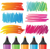 Hand drawn banners painted by marker Royalty Free Stock Images