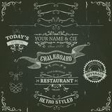 Hand Drawn Banners And Ribbons On Chalkboard Royalty Free Stock Images