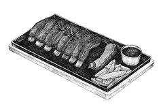 Hand-drawn barbecue ribs menu Royalty Free Stock Photos