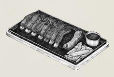 Hand drawn barbecue ribs menu Stock Photo