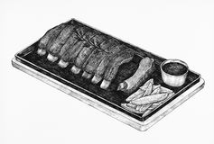 Hand drawn barbecue ribs on plater Royalty Free Stock Photo