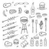 Hand drawn barbecue set Royalty Free Stock Image