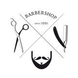 Hand Drawn Barbershop Logotype Template. With scissors shaving razor male mustache and beard in monochrome style isolated vector illustration vector illustration