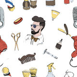 Hand drawn barbershop seamless with accessories comb, razor, shaving brush, scissors, hairdryer, barber s pole and Royalty Free Stock Photos