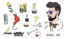 Hand drawn barbershop set. Collection accessories: comb, razor, shaving brush, scissors, hairdryer, barber`s pole and Royalty Free Stock Images