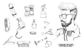 Hand drawn barbershop set. Collection accessories: comb, razor, shaving brush, scissors, hairdryer, barber`s pole and Stock Photos