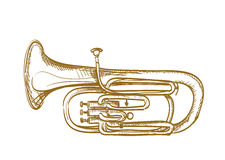 Hand drawn baritone horn Stock Photos