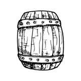 Hand Drawn barrel doodle. Sketch style icon. Decoration element. Isolated on white background. Flat design. Vector illustration.  royalty free illustration