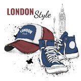 Hand drawn baseball cap and sneakers. Vector illustration Stock Image