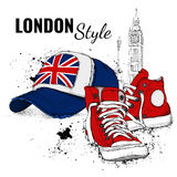 Hand drawn baseball cap and sneakers. Vector illustration Stock Images