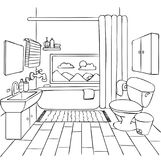 Hand drawn bathroom for design element  and coloring book page for kids and adult. Vector illustration. Royalty Free Stock Photography