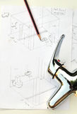 Hand drawn of bathroom sketch and faucet Royalty Free Stock Photo