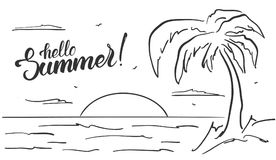 Free Hand Drawn Beach Landscape With Palm Tree And Handwritten Lettering Of Hello Summer. Sketch Line Design. Royalty Free Stock Photo - 108880455