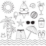Hand drawn beach set Stock Photography