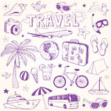 Hand drawn beach and travel doodles vector Royalty Free Stock Photo