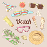 Hand Drawn Beach Vacation Doodle. Summer Time Tourism Fashion Stock Photos