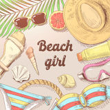 Hand Drawn Beach Vacation Doodle. Summer Time Woman Fashion Royalty Free Stock Image
