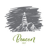 Hand drawn beacon lighting at night, lettering Stock Image
