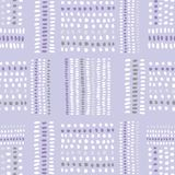 Hand drawn bead-like tribal marks, stitches on purple background vector seamless pattern. Abstract geometric drawing. Hand drawn colorful tribal marks and Royalty Free Illustration