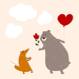 Hand drawn bear in love with a fox. Stock Images