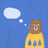 Hand drawn bear wearing a sweater. night forest background. It can be used for clothing prints and Christmas cards. It can be used for clothing prints and Royalty Free Stock Image