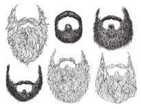 Hand Drawn Beard Set Stock Images