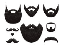 Hand drawn beards and mustaches vector collection vector illustration