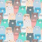 Hand Drawn Bears Vector Pattern Background. Fun Doodle. Handmade Vector Illustration vector illustration