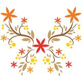 Hand drawn beatiful butterfly. Butterfly vector with flowers branches stock illustration