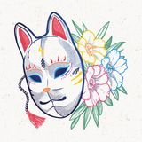 Japanese fox mask with flowers. Hand drawn beautiful artwork a mask with spring flowers. Magic, spirituality, occultism, tattoo art.  vector illustration Royalty Free Stock Photos