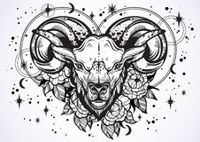 Hand-drawn beautiful artwork of a ram with peony flowers and astrology signs around. Aries, zodiac sign. Trendy vector art. royalty free illustration