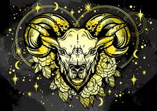 Hand-drawn beautiful artwork of a ram with peony flowers and astrology signs around. Aries, zodiac sign. Trendy vector art. Hand-drawn beautiful artwork of a stock illustration