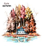 Hand drawn beautiful autumn nature with forest, house and lake. vector illustration