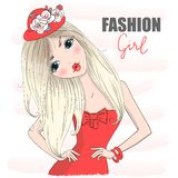 Hand drawn beautiful cute cartoon fashion girl in red dress. royalty free illustration