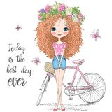 Hand drawn beautiful, cute curly hair girl in a wreath stands near bicycle.