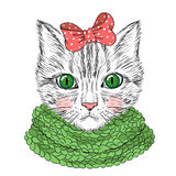 Hand drawn beautiful cute girl cat. vector illustration