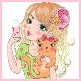 Hand drawn beautiful cute selfie girl with cat and smart phone. Vector illustration. royalty free illustration