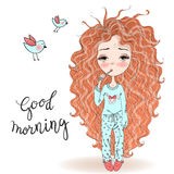 Hand drawn beautiful cute haired girl in pajamas. Hand drawn beautiful cute haired girl in pajamas and a toothbrush. Vector illustration Stock Photo