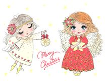 Free Hand Drawn Beautiful Cute Little Christmas Angel Girl With A Flower. Stock Photos - 144667373