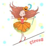 Hand drawn beautiful cute little circus girl balances on a tightrope. royalty free illustration