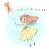 Hand drawn beautiful cute little fairy. Stock Images