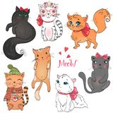 Hand Drawn Beautiful Cute Little Girl Kitty On The Background With Inscription Meow. Stock Photo