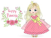 Hand drawn beautiful, cute, little girl Princess with flowers. Vector illustration. stock illustration