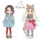 Hand drawn beautiful cute little girls on the background with inscription best friends. Vector illustration. Hand drawn beautiful cute little winter girl with a stock illustration