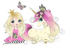 Hand drawn beautiful cute little princess girls with unicorn.