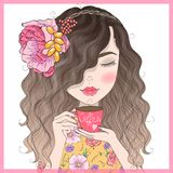 Hand drawn beautiful cute redhead curly girl with coffee in his hands. Vector illustration royalty free illustration