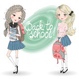 Hand drawn beautiful cute schoolgirls with backpacks. Royalty Free Stock Image